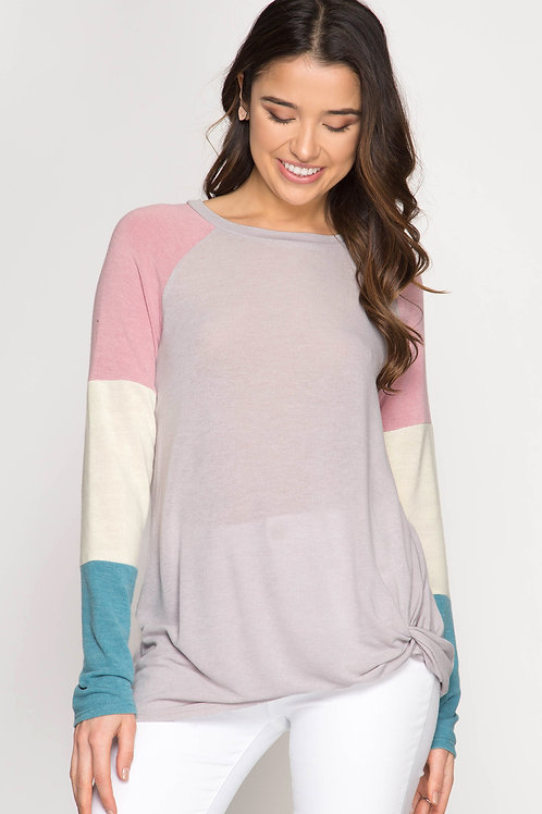 Color Blocked Sleeve Top