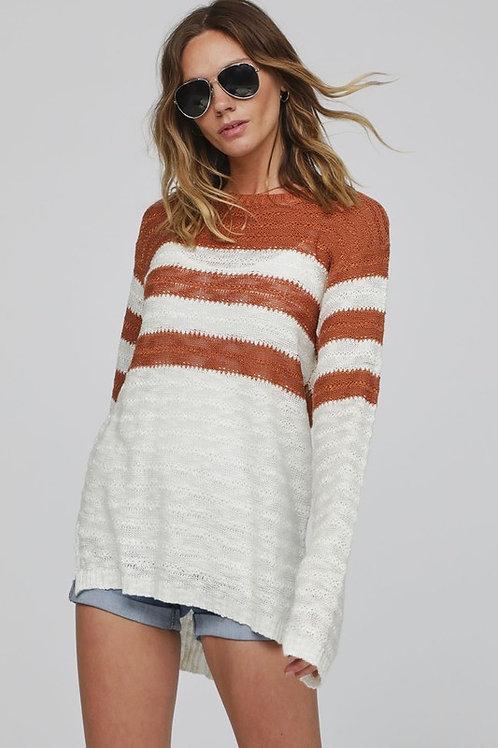 Striped Sweater in Mocha