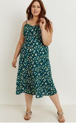 Teal Floral Dress Plus