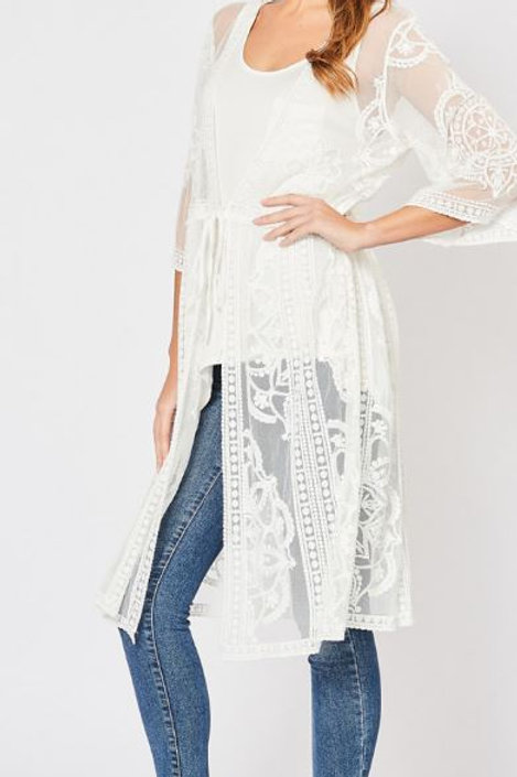 Lace Front Tie Kimono - Ivory