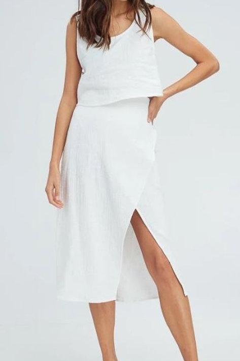 Over-Wrap Linen Top & Bottom Set