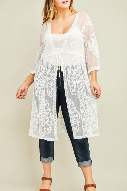 Plus Lace Front Tie Kimono - Ivory