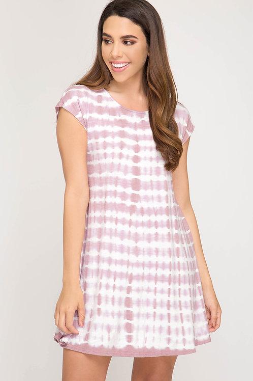 Dusty Pink Knit Tye Dye Dress