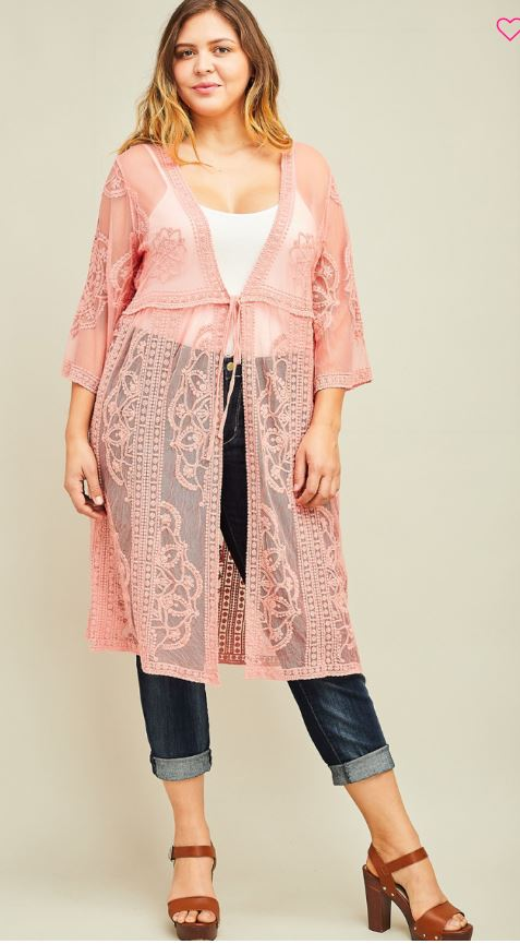 Plus Lace Kimono Rose