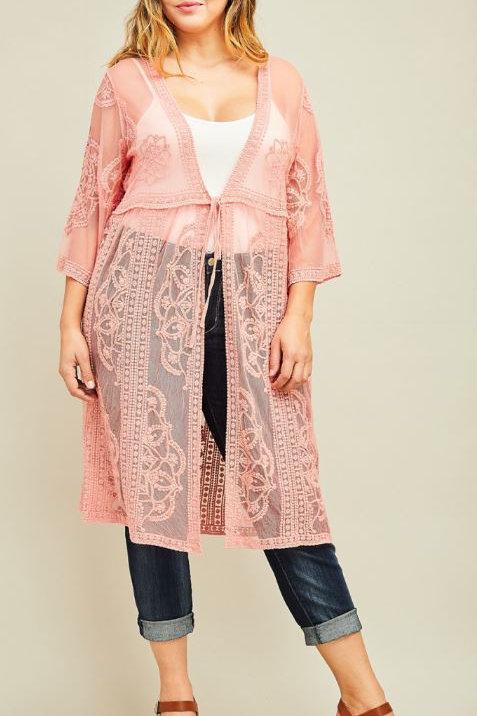 Plus Lace Front Tie Kimono - Blush