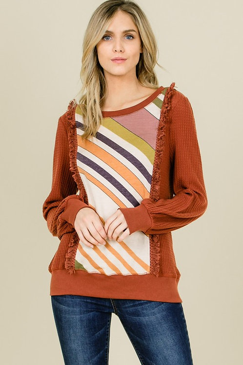 Terry Print Fringed Trim Top