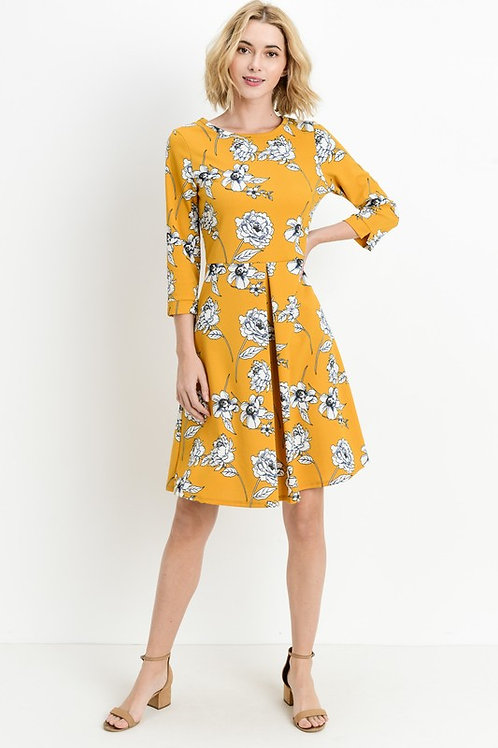 Floral Pleated Dress in Mustard