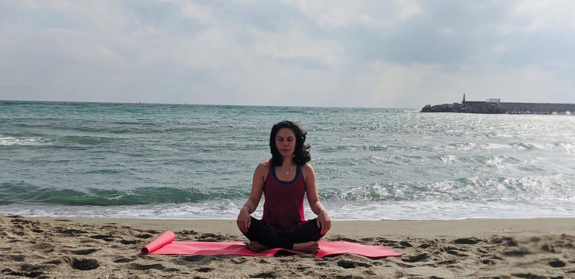 Sunday morning beach meditation and yoga