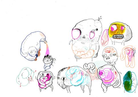 Pennarelli, pastelli, ecoline e pennini a china su carta.  42x29,7cm   2008
