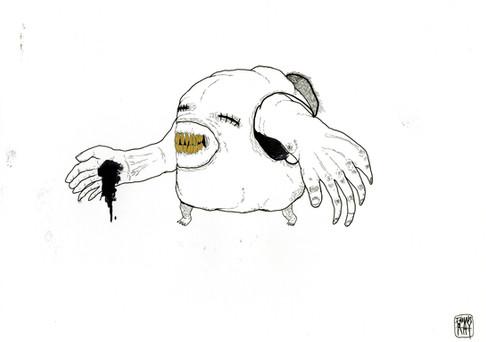 Inchiostro nero, pennarello oro e pennini a china su carta.  42x21,7cm  2008