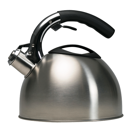 Primula colin 3 qt soft grip stainless steel whistling kettle