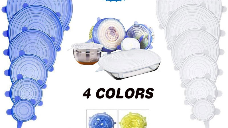 Universal Silicone Lids, Food cover,   Kitchen Gadgets, Stretchable pot cover
