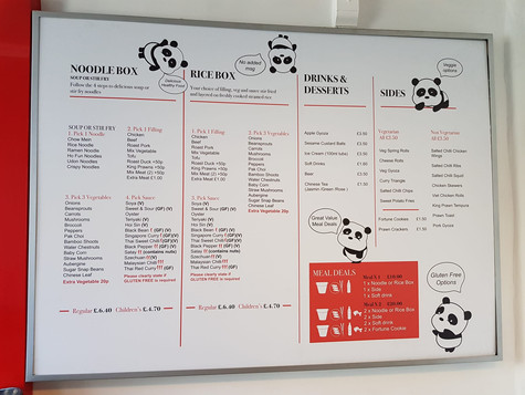 Red Box Noodle Bar Menu 2018