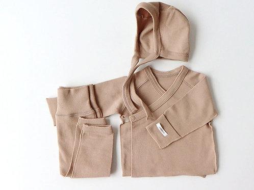 Polpol kimono bonnet set, Light brown