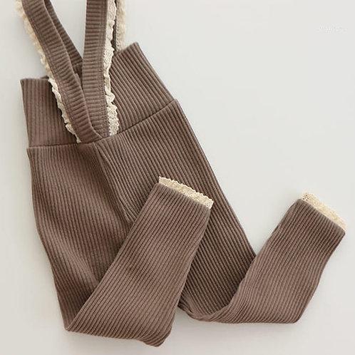 Lace Suspender Leggings - Cocoa