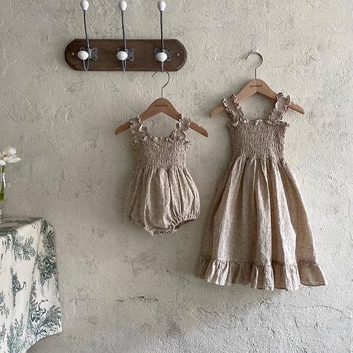 Linen-Blend Smocked Dress