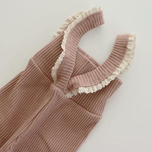 Lace Suspender Leggings - Peach