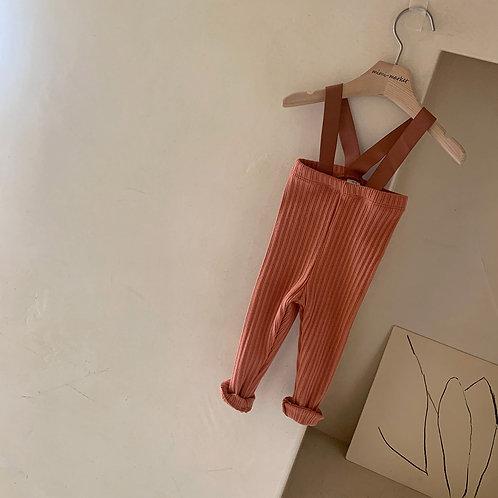Cotton Rib Suspender Pants - Rust