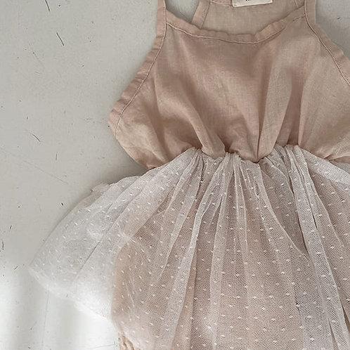 Dot Tulle Romper - Pink
