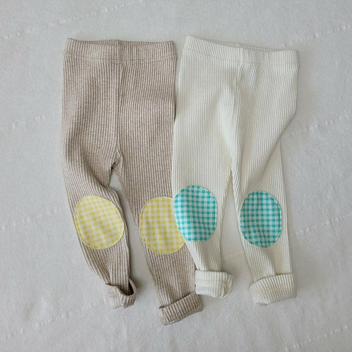 Cotton Rib Patch Leggings - Beige