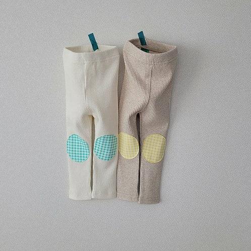 Cotton Rib Patch Leggings - Ivory