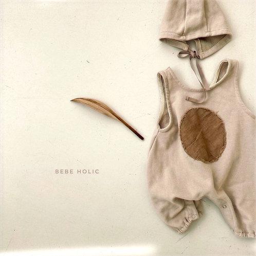 Circle Bodysuit with Bonnet - Beige