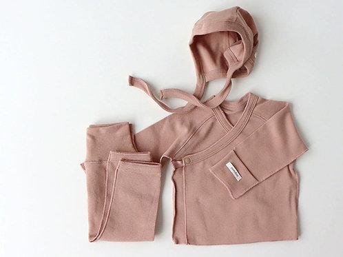 Kimono bonnet set, Pink