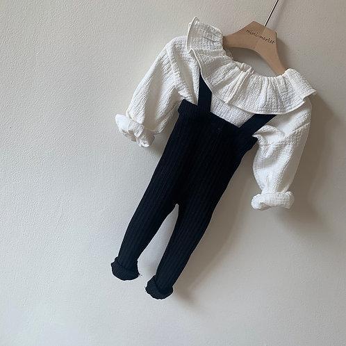 Cotton Rib Suspender Pants - Black