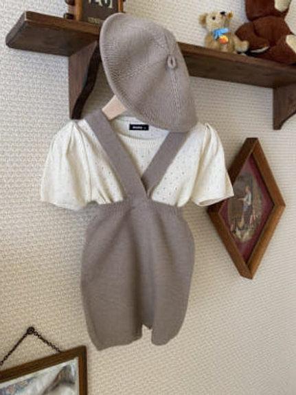 Summer Knit Suspender Shorts - Mocha