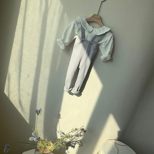 Cotton Rib Suspender Pants - Gray