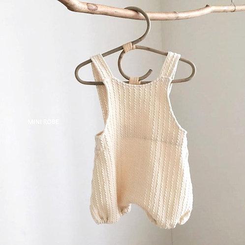 Twist Knit Overalls - Ivory