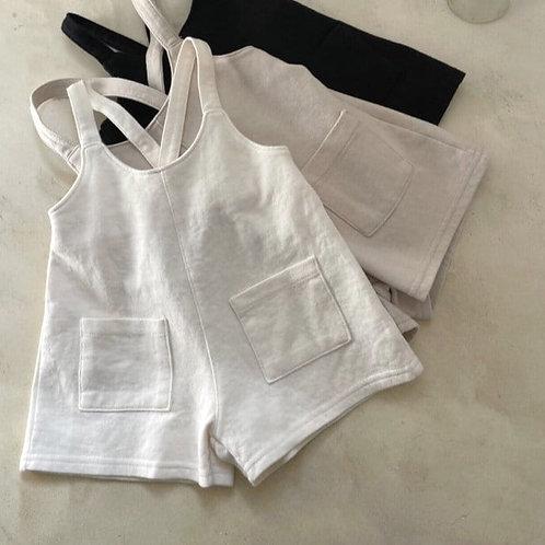 Cotton Knit Overalls - Cream