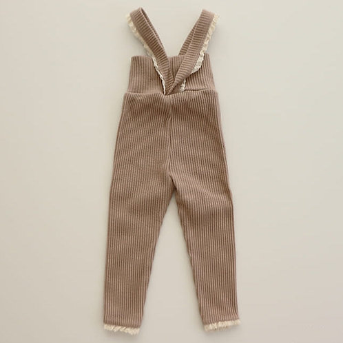 Lace Suspender Leggings - Mocha