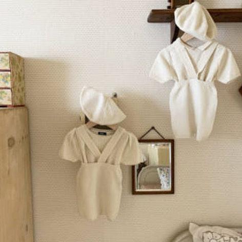 Summer Knit Suspender Shorts - Cream