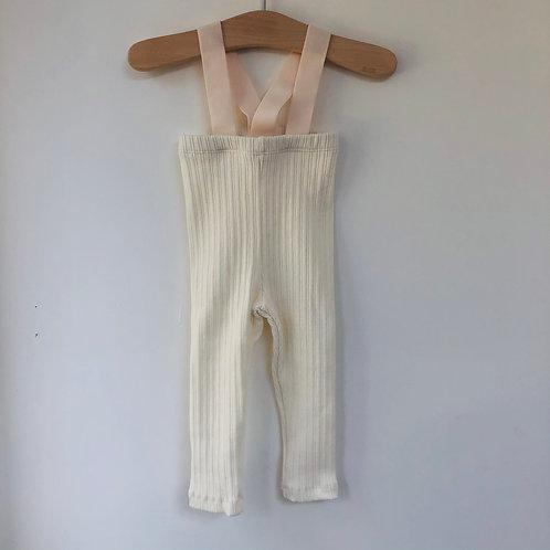 Cotton Rib Suspender Pants - Ivory