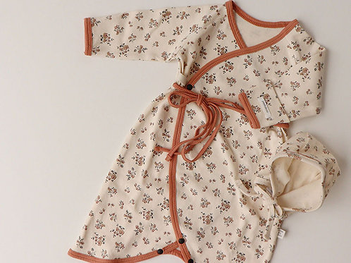 Knot Romper with Bonnet - Coral