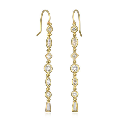 Geo Diamond Line Earrings
