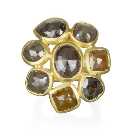 Milky Diamond Daisy Ring