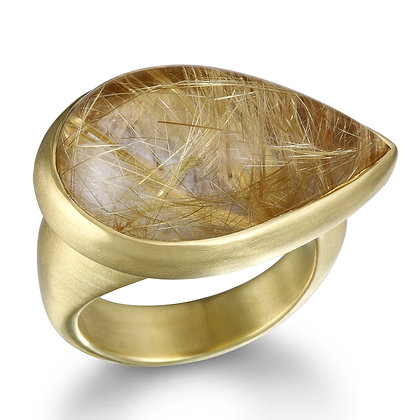 Pear Shaped Rutilated Quartz Ring