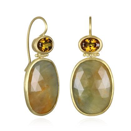 Yellow Green Sapphire Slice Earring