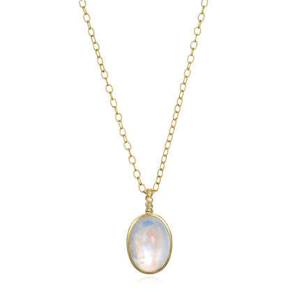 18K Gold Diamond And Moonstone Pendant