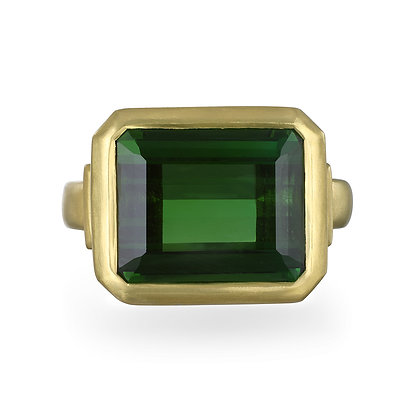 Green Tourmaline Ring with Diamond Baguettes