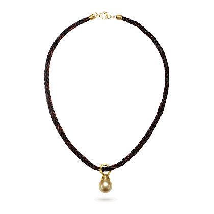 Golden South Sea Pearl Pendant on Leather