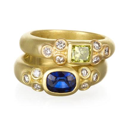 Green Diamond + Blue Sapphire Rings