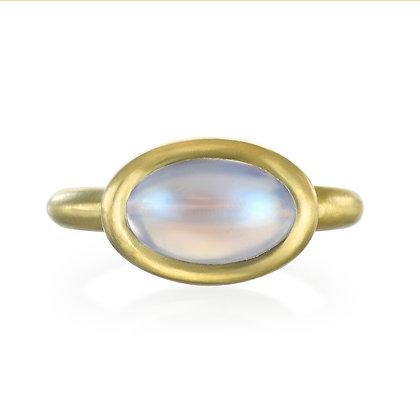 Blue Moonstone Bezel Ring