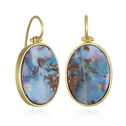 18K Gold Boulder Opal Split Earrings with Hinge