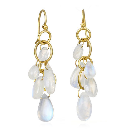 Moonstone Miniloop Fringe Earrings
