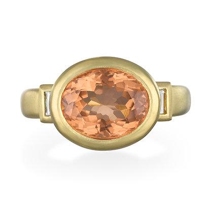 Peach Tourmaline Three-Stone Ring
