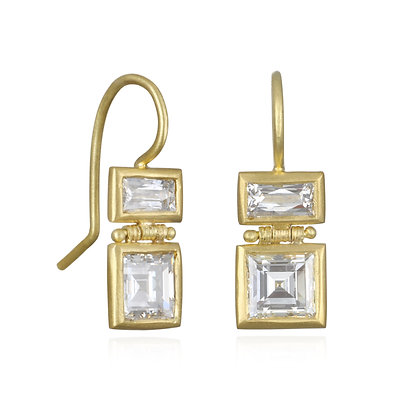 Double Diamond Baguette Earrings