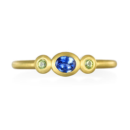 Blue Green Sapphire Stack Ring